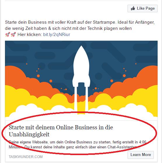 Facebook 1. Schritt